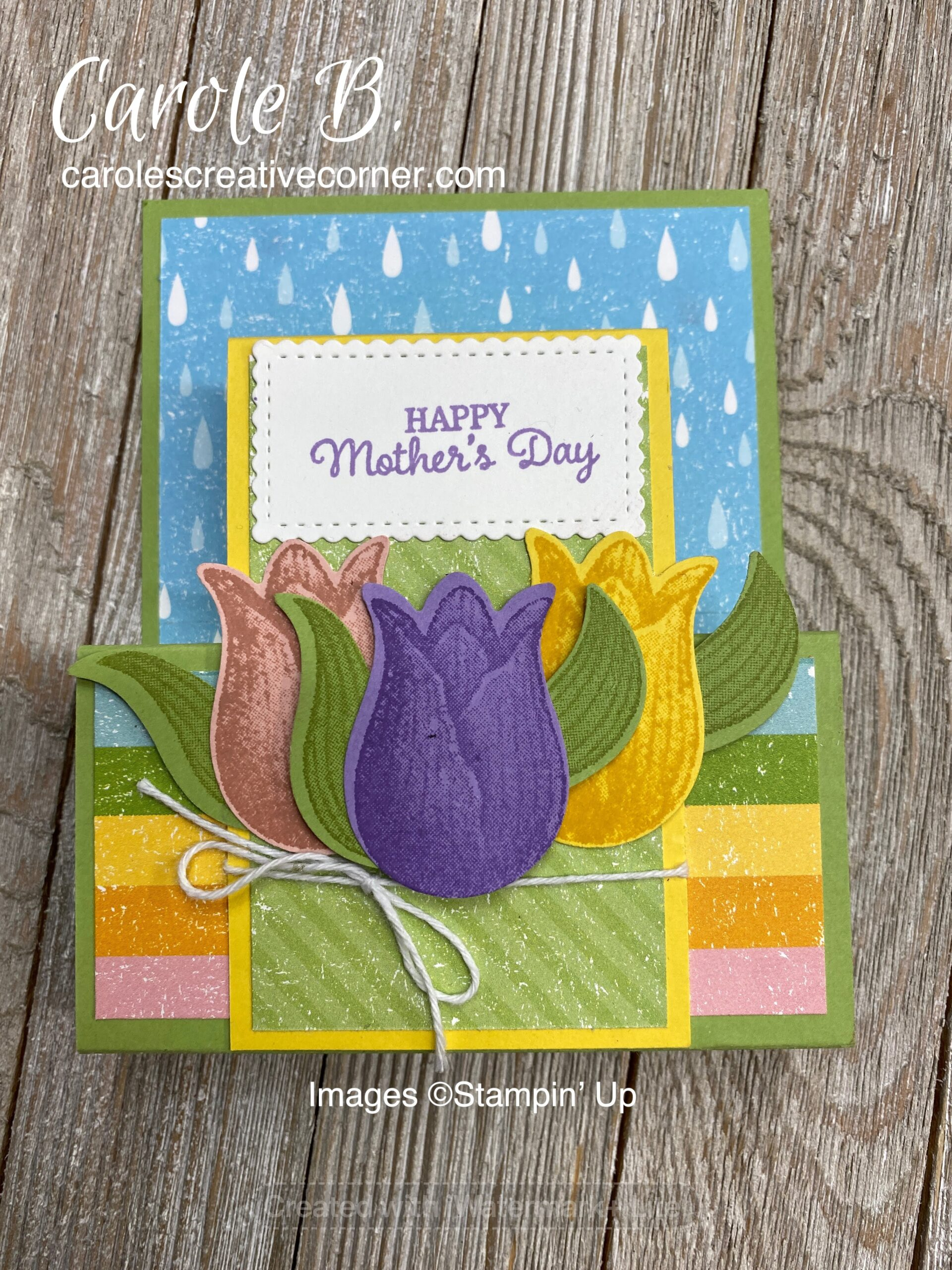 Stampin Up Timeless Tulips: Step Fold Card