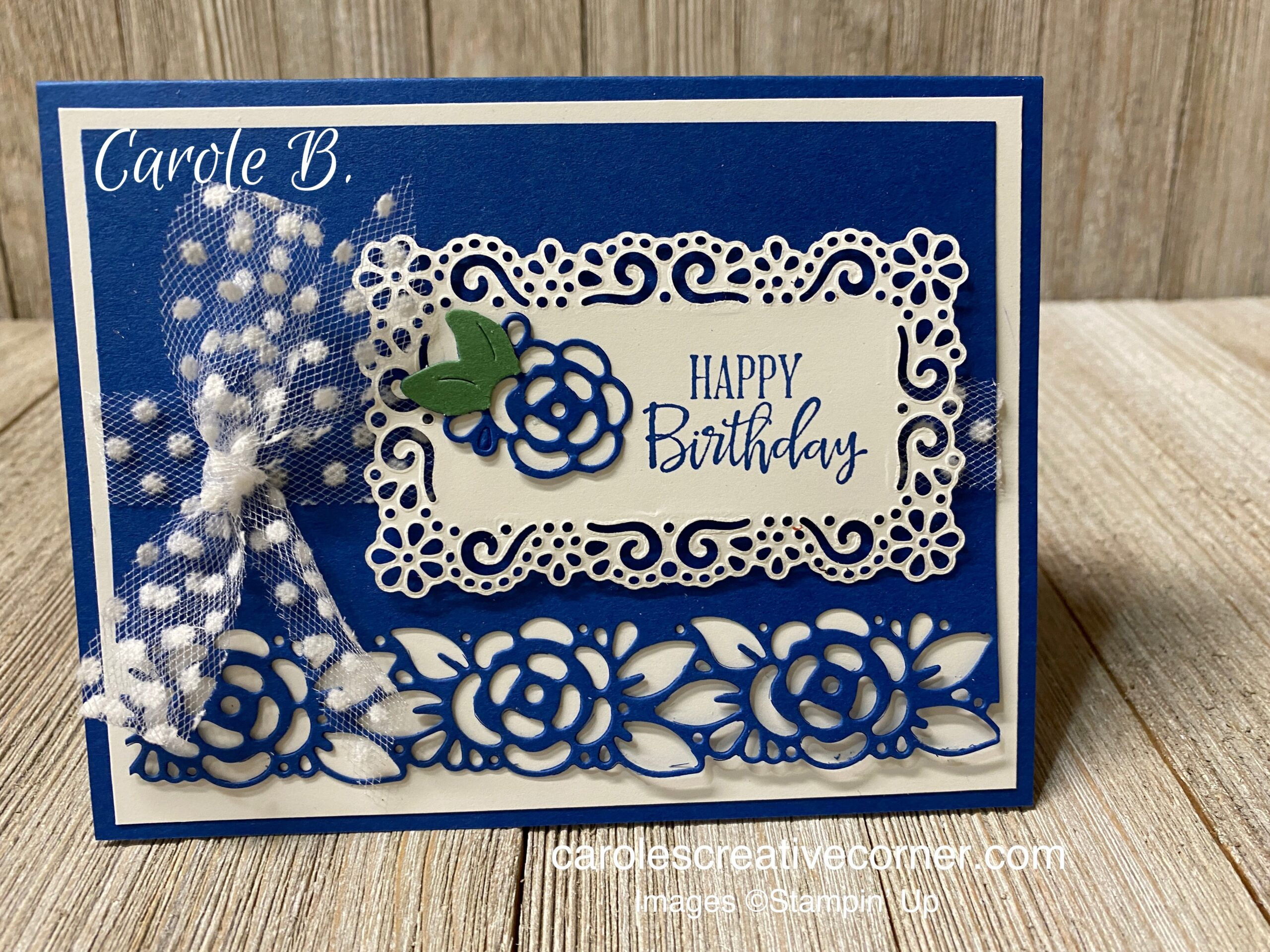 Stampin Up Ornate Layers & Borders:  Happy Birthday Card
