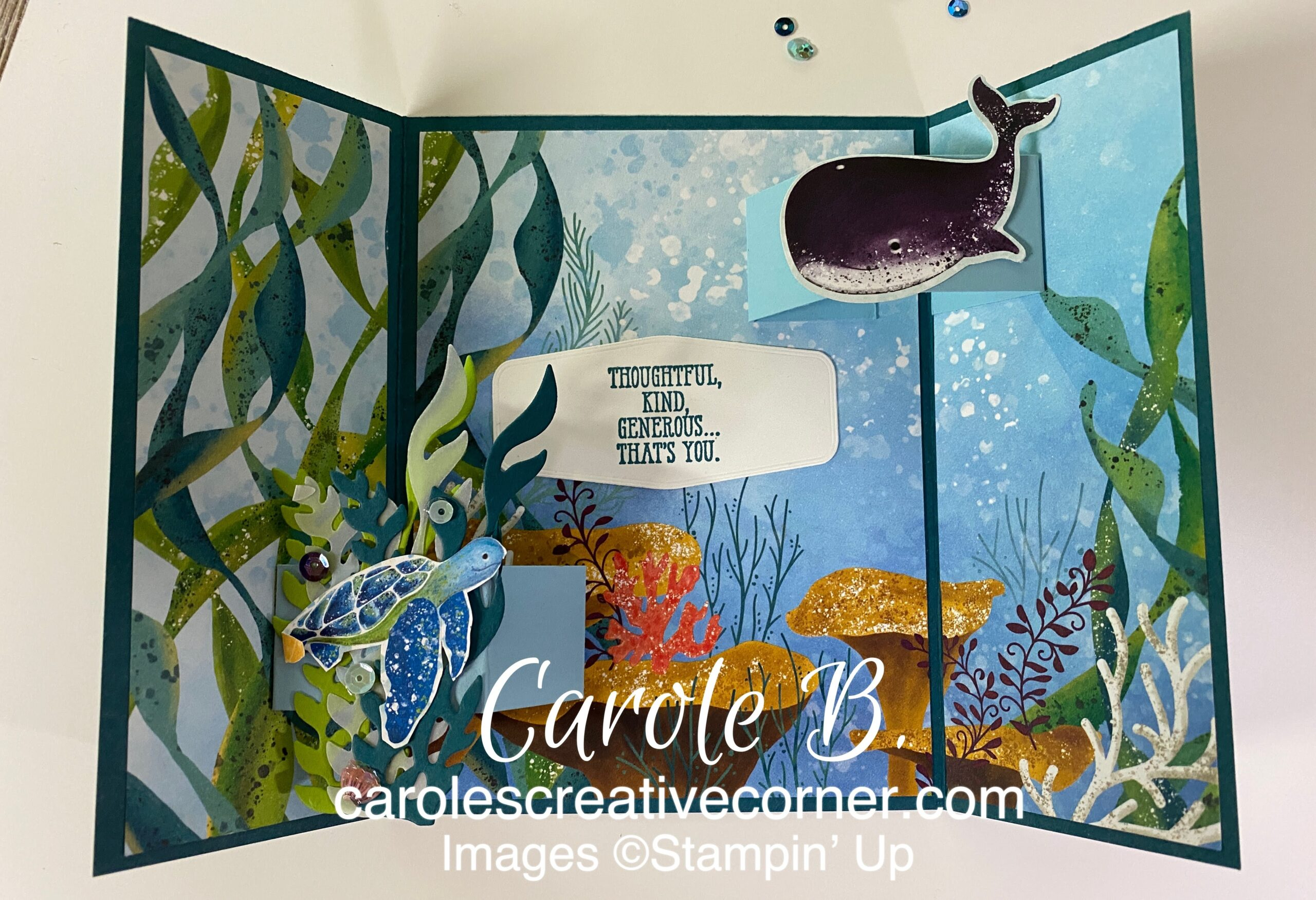 Stampin Up Whale Done – Floating Gatefold Card