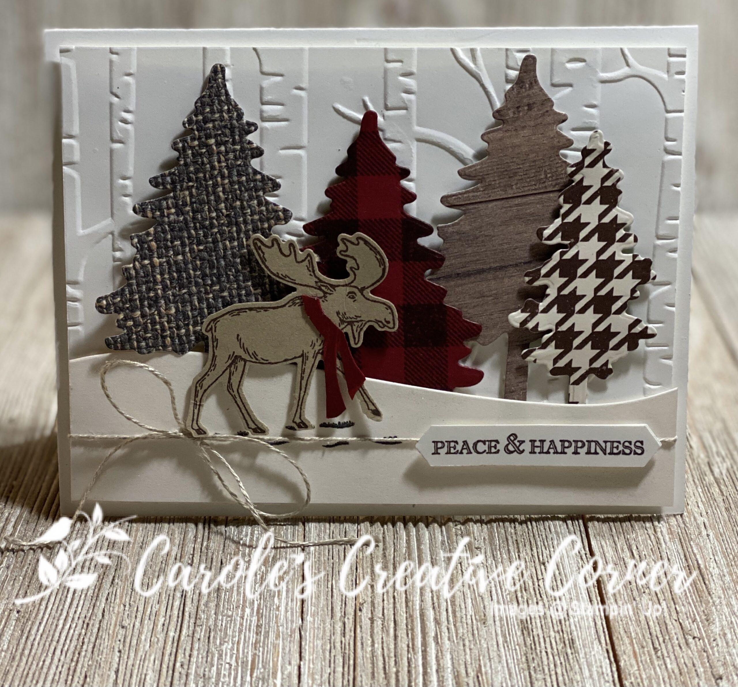 Merry Moose Pine Tree Card