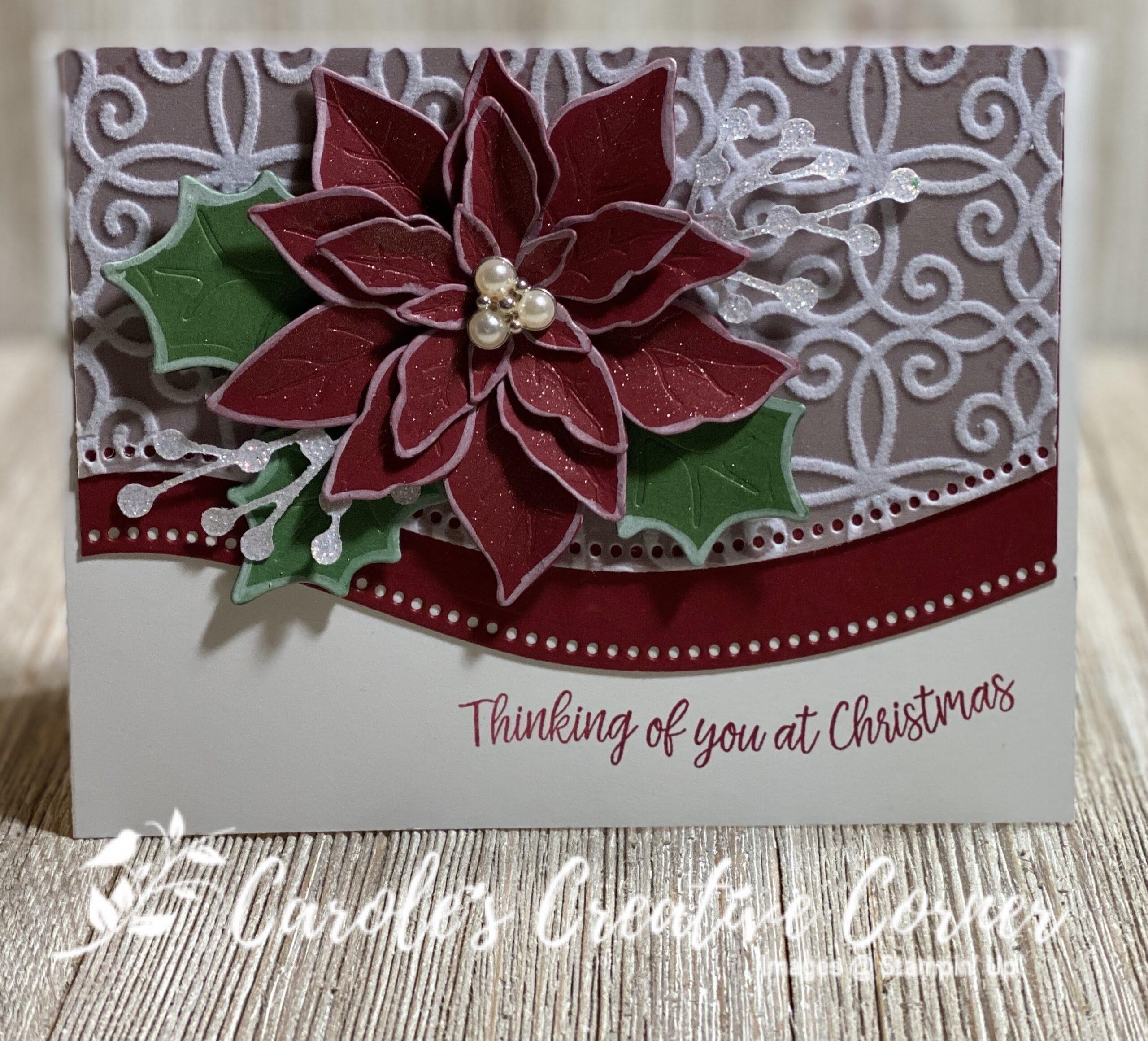 Pretty Poinsettia Curvy Dies Card